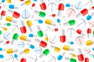 Colourful pills on white