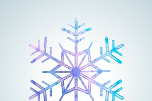 Bright colourful ice snowflake