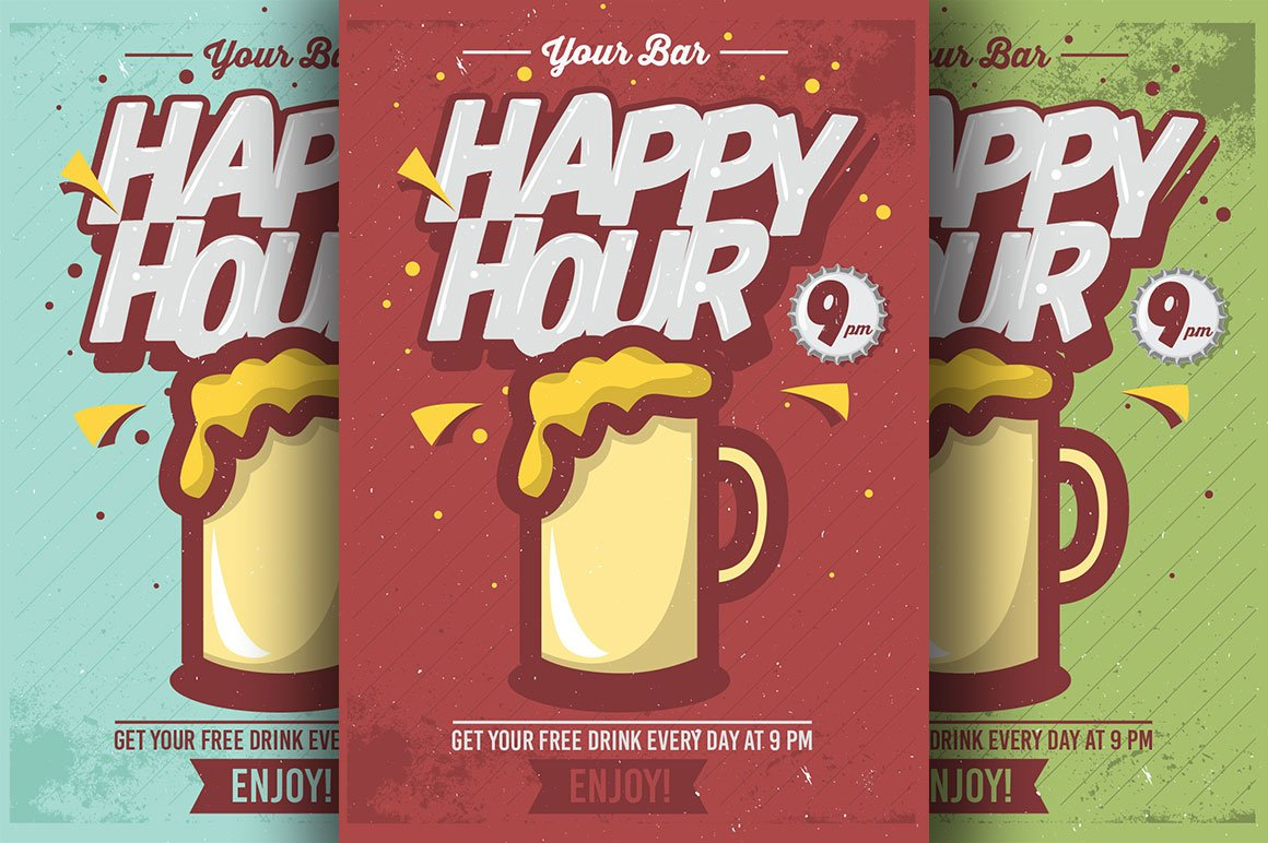 Comic Happy Hour Flyer Templates Flyer Templates Creative Market