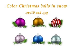 Set of color Christmas balls in snow