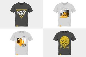 Navy tee print vector set