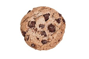 Dark Chocolate chip cookie on white