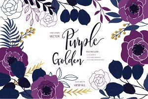 PURPLE&GOLD Floral set with BRUSHES