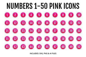 Numbers 1-50 Pink Icons Style 2