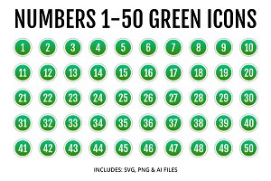 Numbers 1-50 Green Icons Style 2