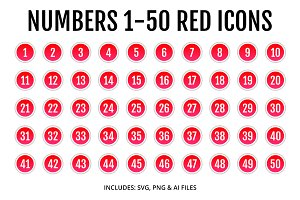 Numbers 1-50 Red Icons Style 2