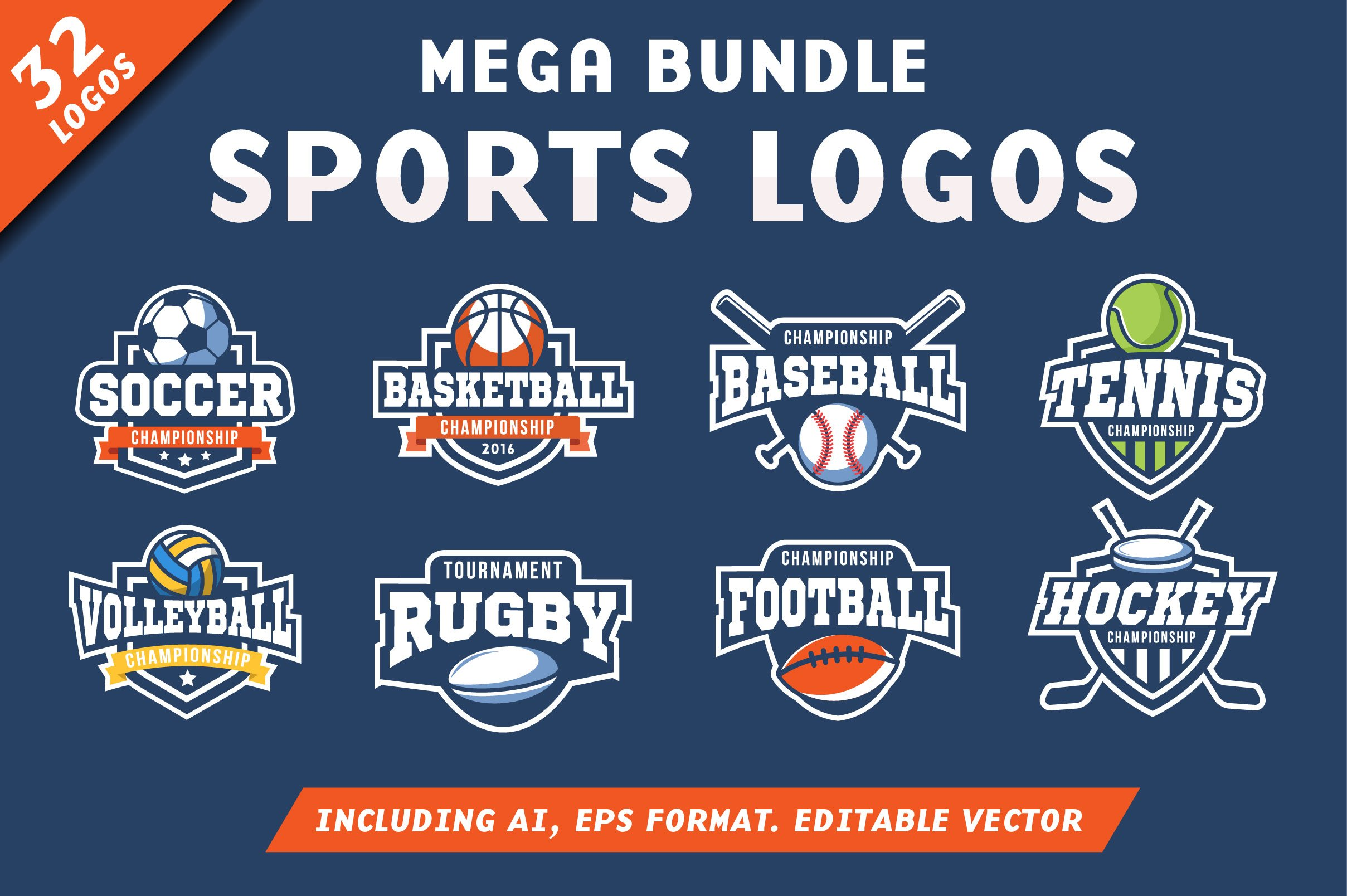 32 Sports Logos Bundle Creative Illustrator Templates Creative Market