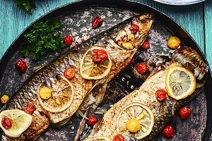 Fish baked in stylish pan
