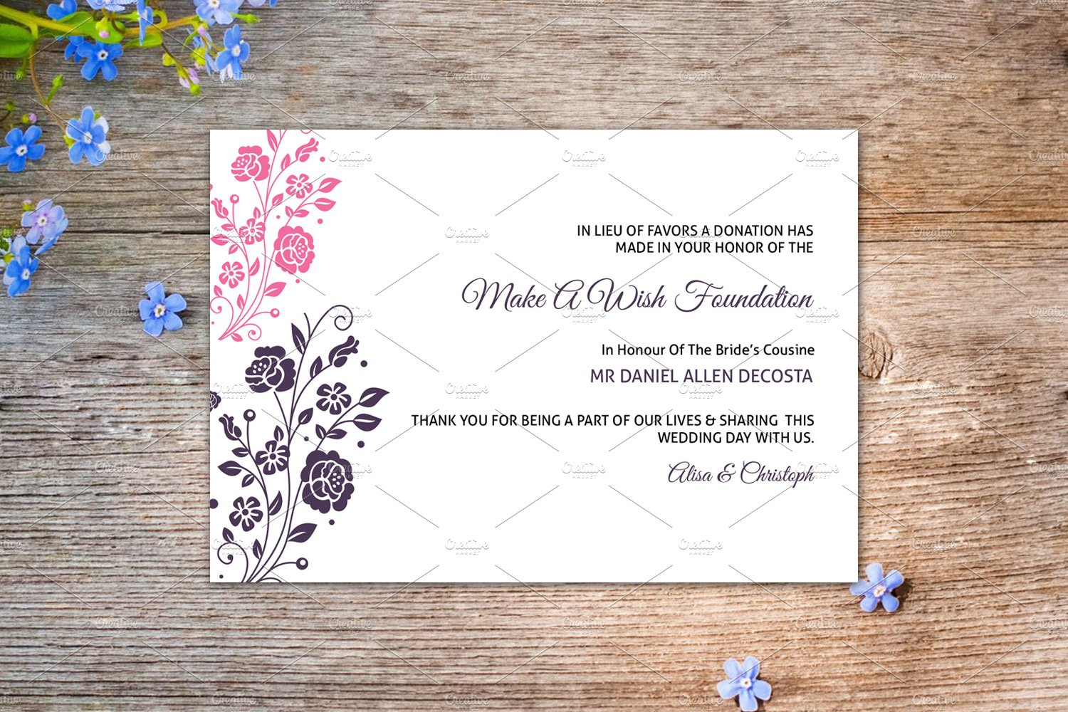Wedding Favor Donation Card Template Card Templates Creative Market