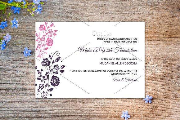 Wedding Favor Donation Card Template Cards