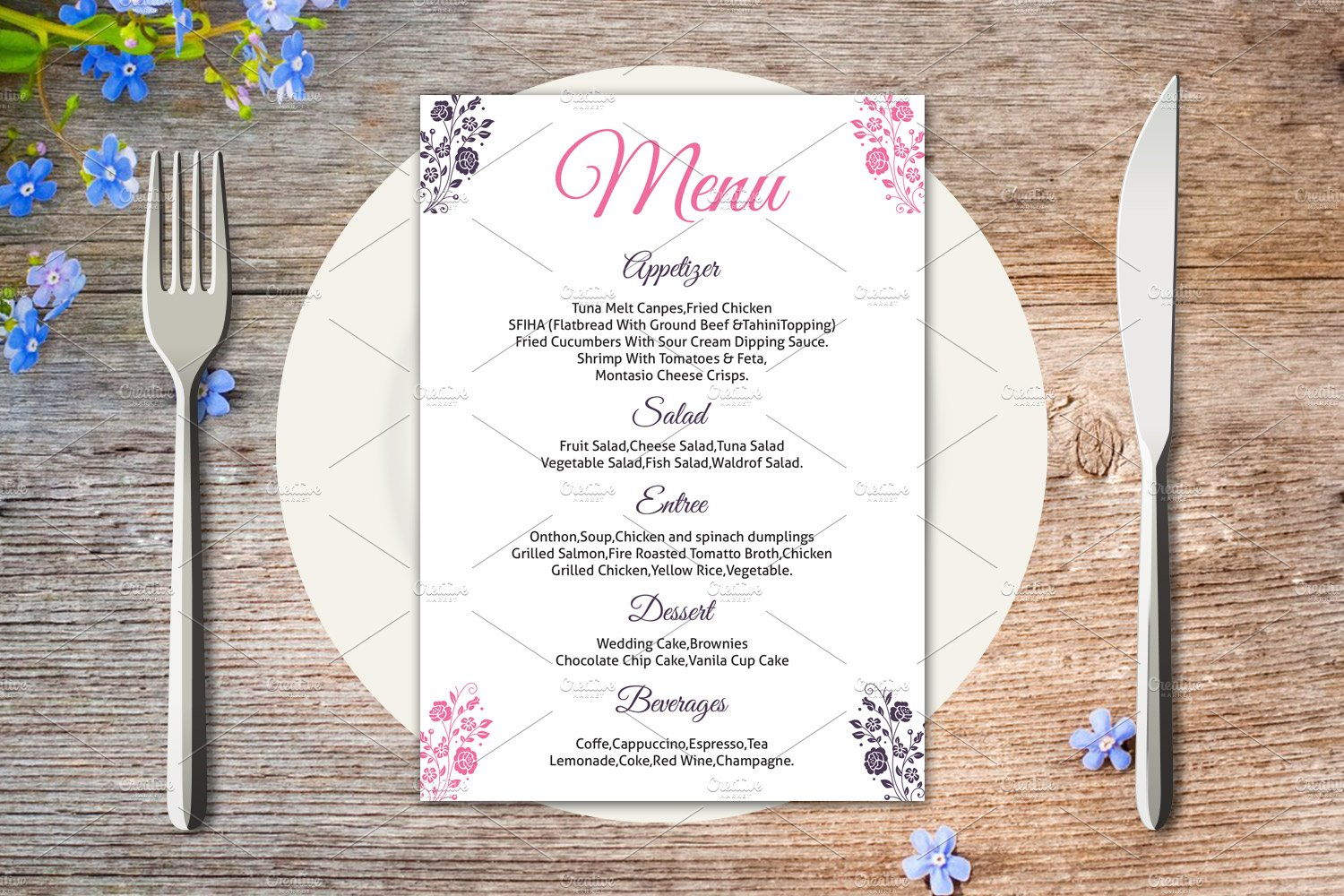 wedding menu card template stationery templates creative market