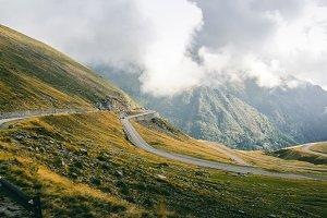 Cloudy mountain road