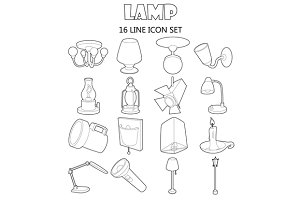 Lamp icons set, outline style