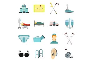 Disabled people care icons set