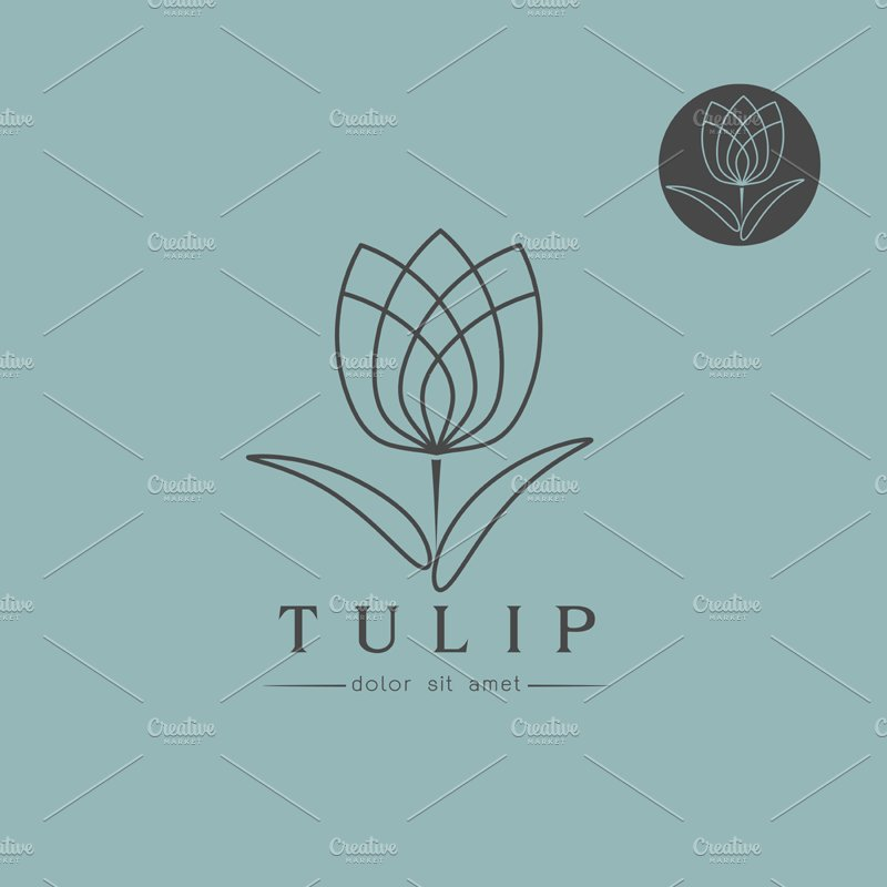 Simple Tulip bud with leaves design ~ Logo Templates ...