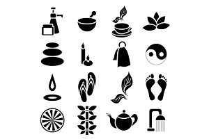 Spa icons set, simple style