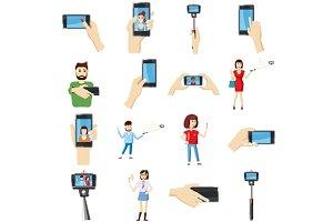 Selfie icons set, cartoon style