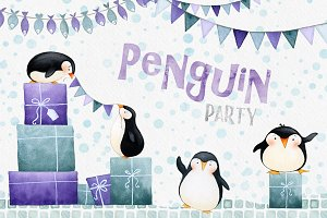 Penguin Party Watercolors