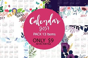 2017Calendar Pack13 item Vector file