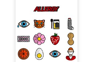 Allergy flat icons set