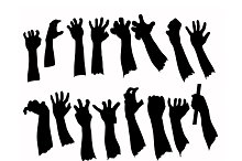 Silhouette set of hands