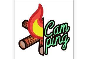 Color vintage Camping emblem