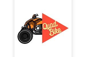 Color vintage quad bike emblem