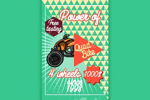Color vintage quad bike poster