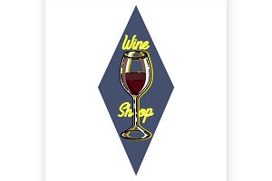 Color vintage wine shop emblem