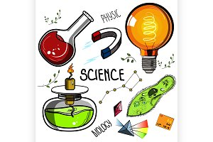Colored Hand drawn science set