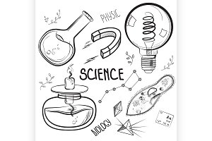 Hand drawn science set