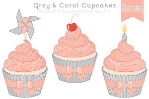 Grey & Coral Cupcake Clipart
