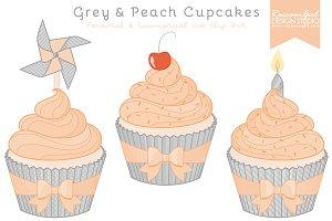 Grey & Peach Cupcake Clipart