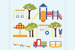 Icons set of playground equipments