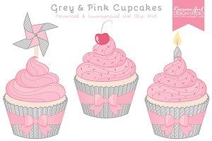 Grey & Pink Cupcake Clipart