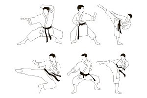 Karate icon set