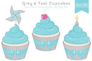 Grey & Teal Cupcake Clipart