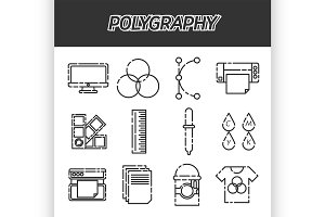 Polygraphy flat icons set