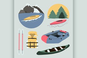 Rafting and kayaking icons