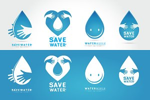 Save water Logo set