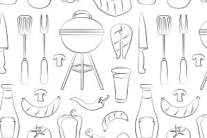 Set of barbecue pattern