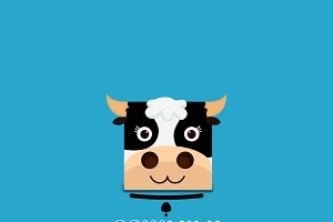 Logotype cow head,Milk logo
