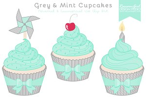 Grey & Mint Cupcake Clipart