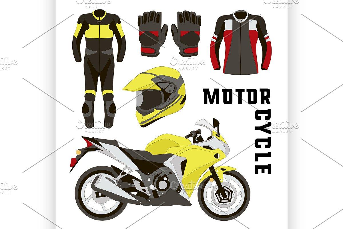 Vector Set Of Motorcycle Accessories