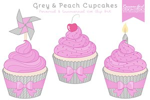 Grey and Purple Cupcake Clip Art