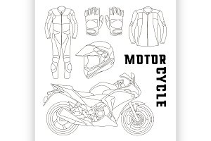 Vector set of motorcycle accessories