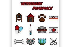 Veterinary pharmacy flat icons set