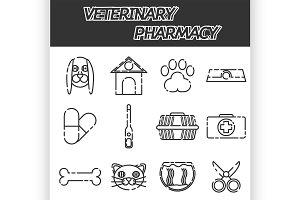 Veterinary pharmacy icons set