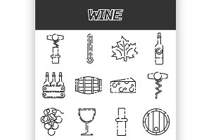 Wine flat icons set