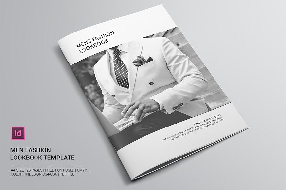 men fashion lookbook brochure templates creative market. Black Bedroom Furniture Sets. Home Design Ideas